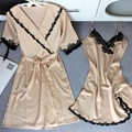 Champagne Ladies' Elegant Satin Robe Set Half Sleeve Bathrobe Women Sexy Nightdress Lace Lounge Sleepwear Twinset Home Wear