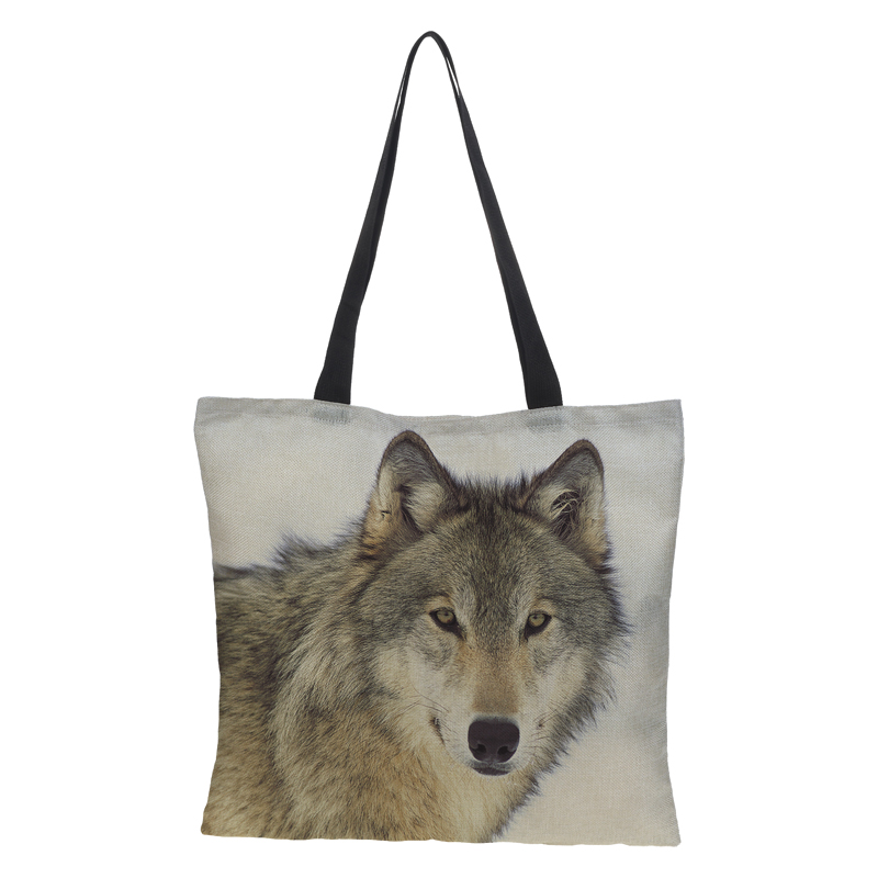 CROWDALE Double-sided printing <font><b>Snow</b></font> Wolf Printed Women Large Shopping Bag Tote Sholder Bag for Ladies Linen <font><b>Handbag</b></font> Bag Woman