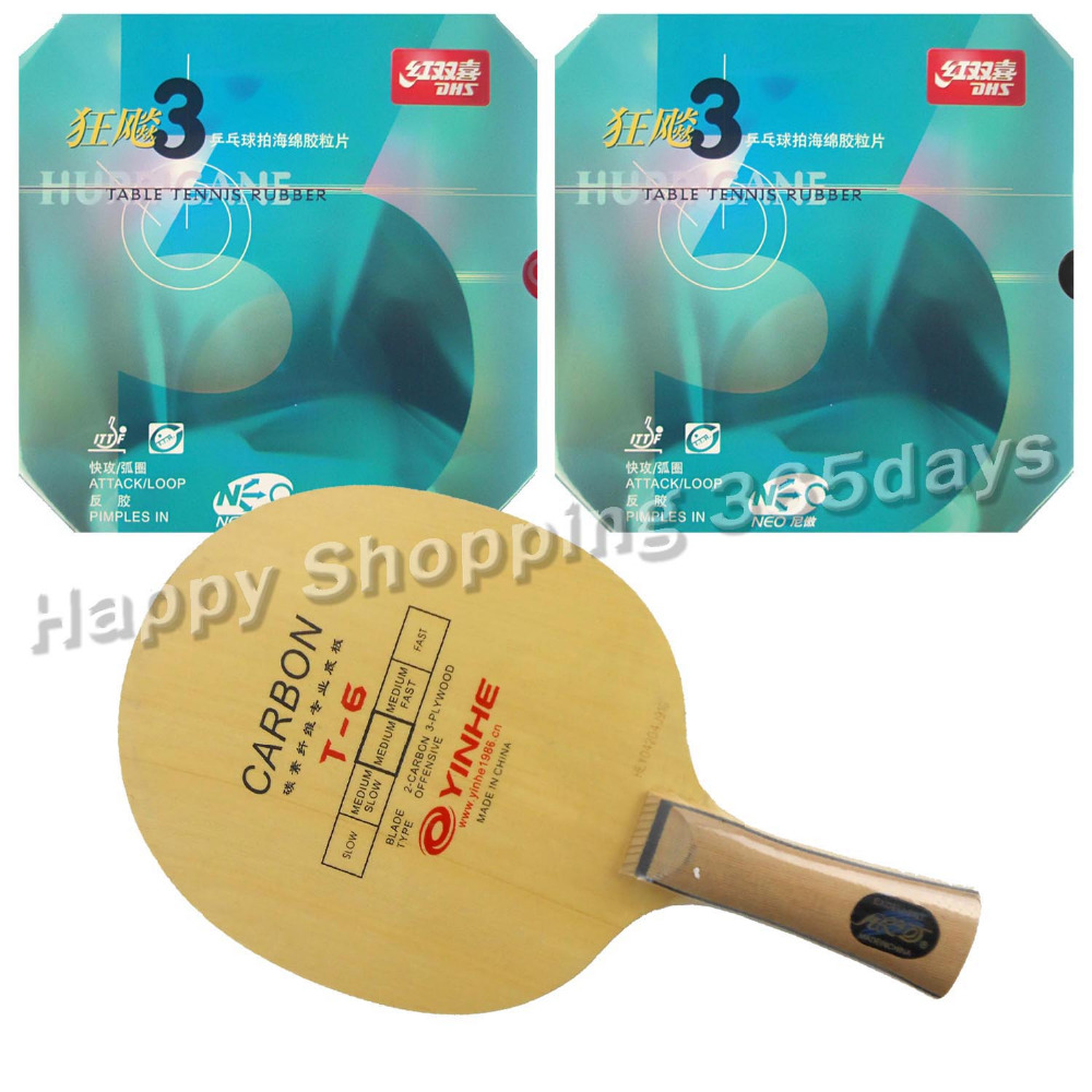 Pro Table Tennis/ PingPong Combo Racket: Galaxy YINHE T-6 Blade with 2x DHS NEO Hurricane3 Rubbers Shakehand Long Handle FL pro table tennis pingpong combo racket ritc729 v 6 blade with 2x transcend cream rubbers shakehand long handle fl