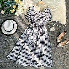 Women 2019 Spring Square Collar Short sleeve Slim Waist Dress Female Summer Single button Retro Plaid Long Dress Ladies Dress plaid button up long sleeve dress