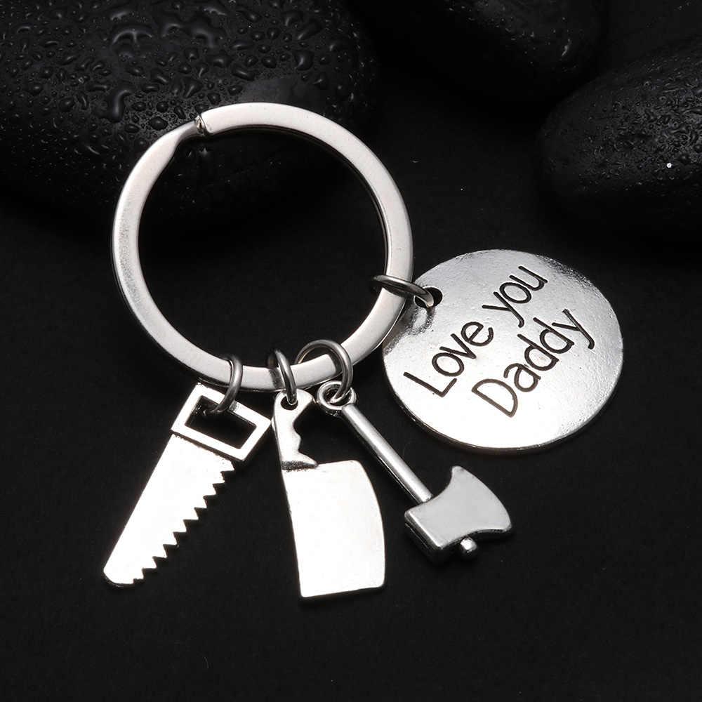 1PC טרנדי Keyring יד כלים אבא Keychain מתנה עבור אבות יום מפתח שרשרת יד כלים תיק תליון מפתח טבעת תכשיטי אבזרים
