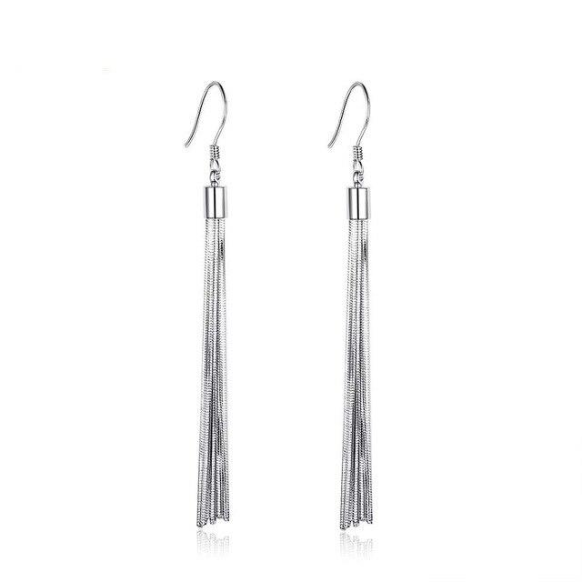 Genuine 925 Sterling Silver Tassel Dangle Earrings Women Metallic Long Earrings