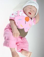 20inch Lifelike Washable Silicone Sleeping Cake Bibpants Doll Reborn New Baby Alive Great Toys Gifts For Kids Women Collection