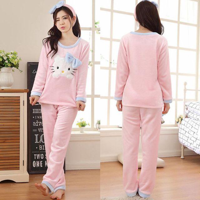 4f5626543 2017 Winter Pajama Women Flannel Animal Pajama Sets Female Sleepwear Hello  Kitty Coral Fleece