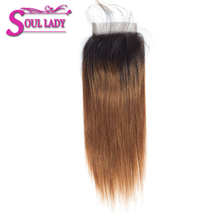 Lace Closure Human-Hair Straight Peruvian Soul Ombre with Non-Remy Bleached Lady 1b/30-Pre-Plucked