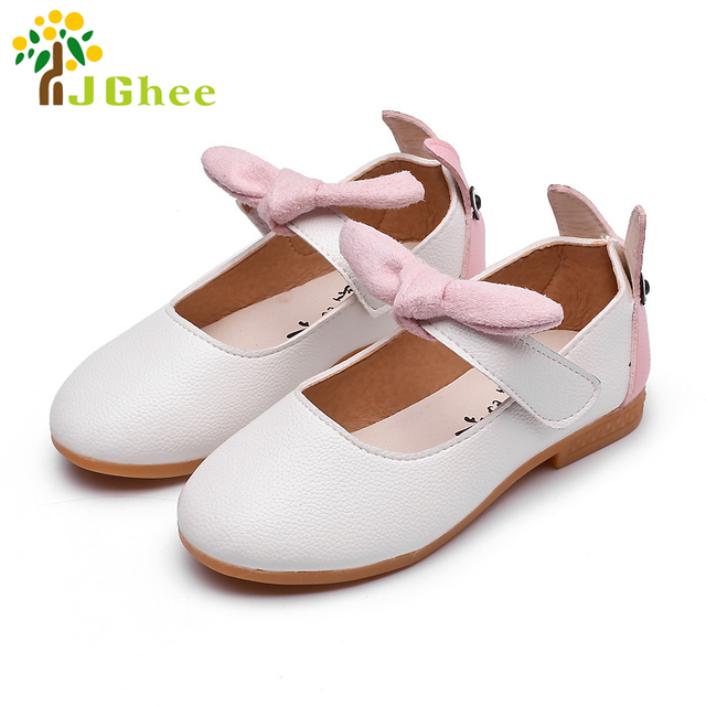 J Ghee 2017 Spring Autumn Kids Shoes Cute Ear Design Baby Girls Flats Children  Shoes With Bow-knot Princess Sweet Loafers 21-30 a7e9264dfc13