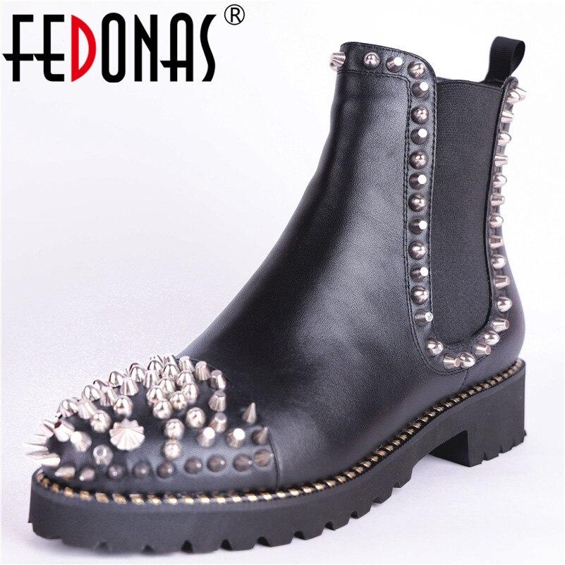f1867e76ff535 Hauts Fedonas Chaussures Bottes Hiver Véritable Cuir De Sexy Rivets Femmes  En Femme Base Talons Court À Automne Noir Cheville ...
