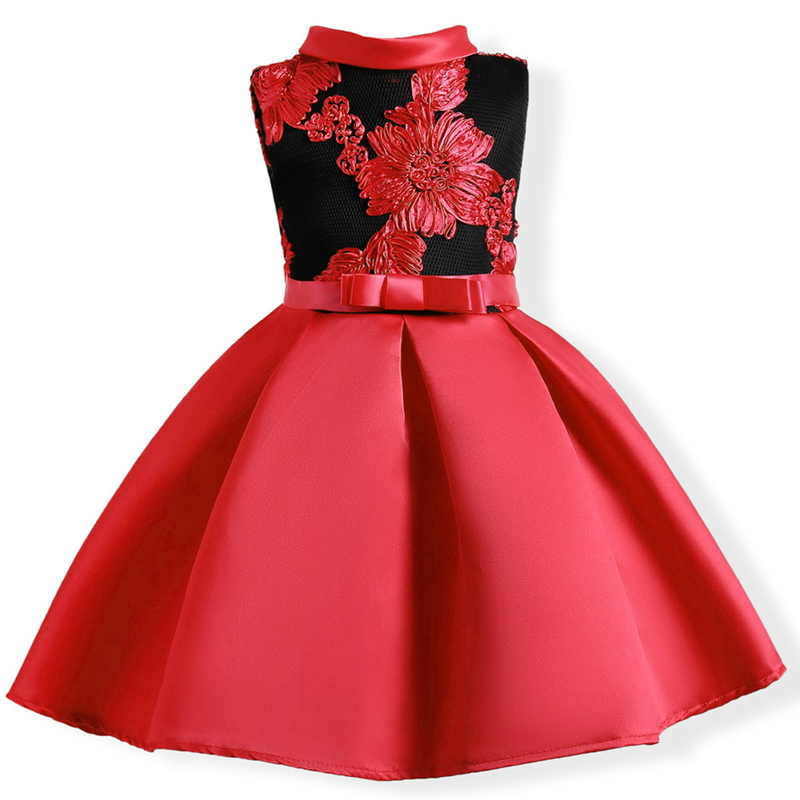 Embroidery Elegant Girls Dress for Wedding Birthday Party Princess Flower Girl Dresses Kids Formal Ball Gown Tulle Fancy Frocks(China)