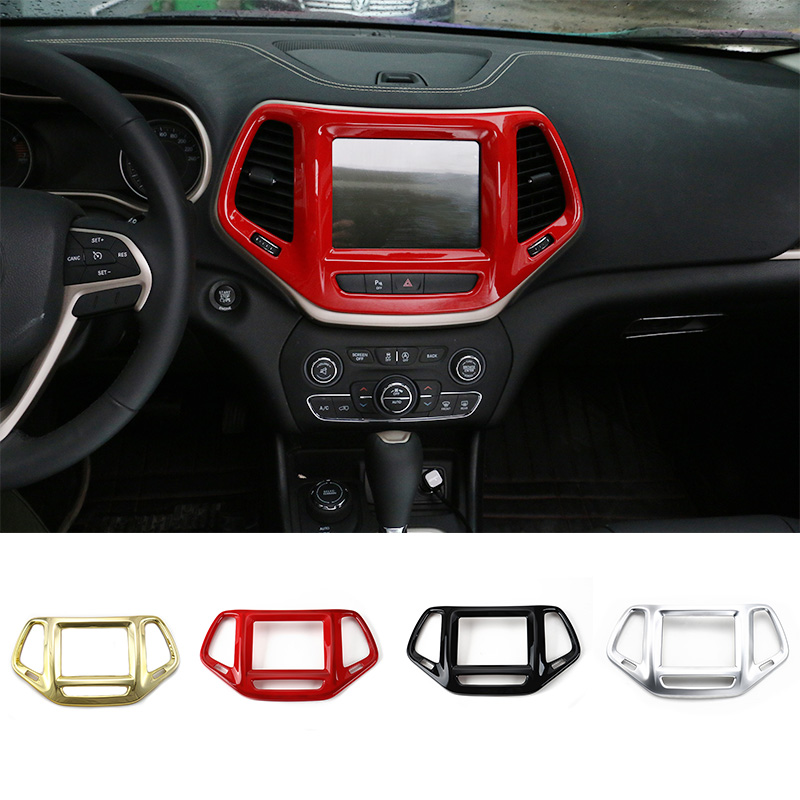 MOPAI ABS Car Interior GPS Panel Frame Dashboard Decoration Frame Cover Stickers Fit For Jeep Cherokee 2014 Up Car Styling car new adhesive type abs front bumper protector guard cover frame for jeep cherokee 2013 2014 2015 2016 [qpa384]