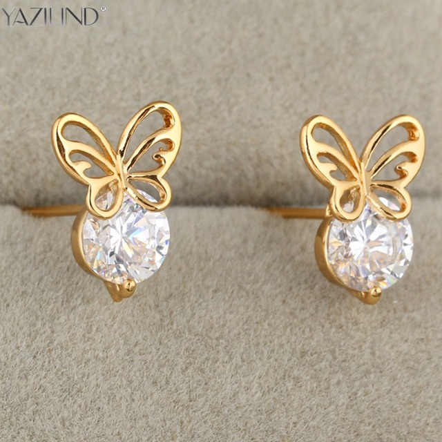 Kid S Baby Cute Safety White Crystal Dragonfly Erfly Lucky Stud Earrings Gold Color Fashion