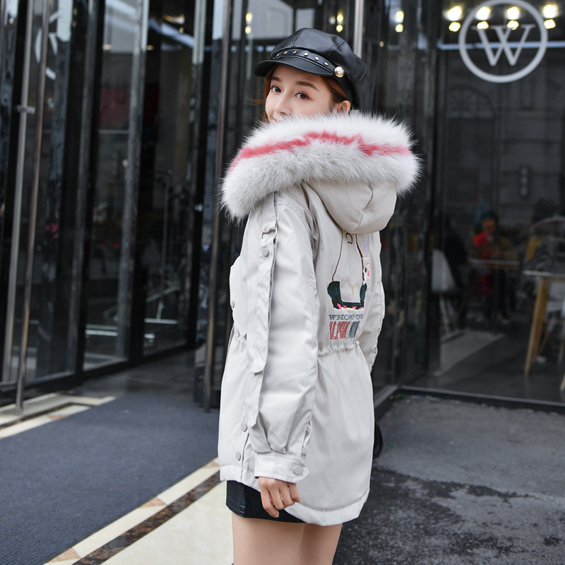 2018 Winter jacket women   down   jackets women's White Duck   Down     coat   Fashion Korean Big Fox fur Embroidery Outerwear Trend parka