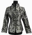 Бесплатная Доставка! серый Китайской Традиции женская Шелковый Атлас Пальто Куртки Цветы Размер Sml XL XXL XXXL 2306-2