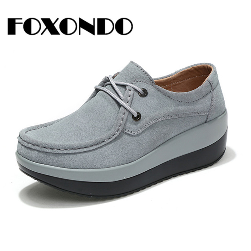 FOXONDO 2018 Autumn women flats shoes thick soled high platform shoes   leather     suede   ladies casual shoes lace up flats creepers