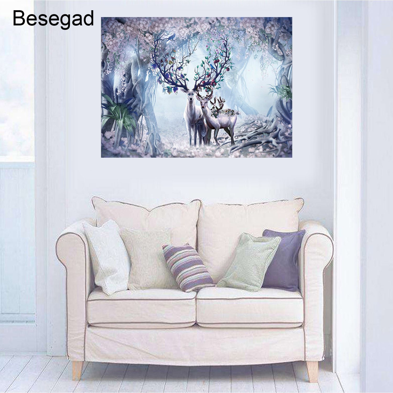 Besegad Kids <font><b>500</b></font> <font><b>Pieces</b></font> <font><b>Puzzles</b></font> Landscape Wood <font><b>Puzzle</b></font> Cartoon Animlal Deer Elk <font><b>Jigsaw</b></font> DIY Creativity <font><b>Puzzle</b></font> Educational Toys image