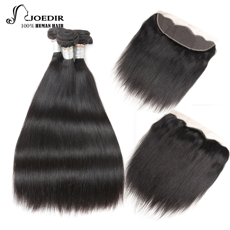 Joedir Hair Human Hair Bundles With Frontal Non Remy Indian Hair Straight 3 Bundles Lace Frontal Closure With Bundles