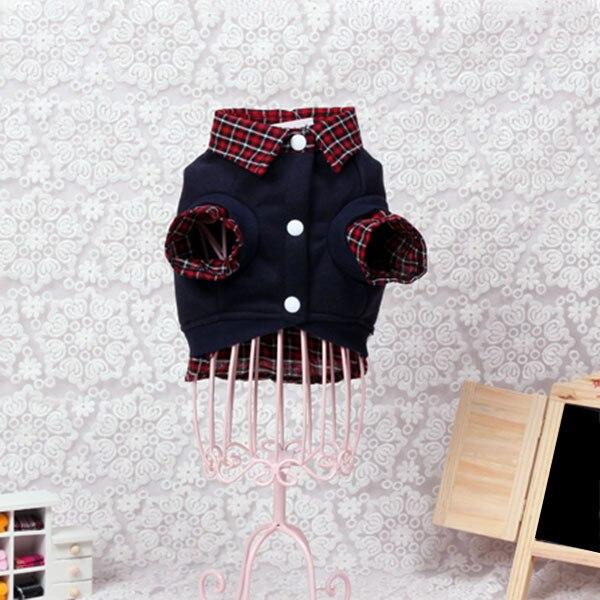 Dog Cat Jackets Grid Sweater Puppy Warm Coat T-Shirt Pet Clothes POLO Shirt Dog clothes