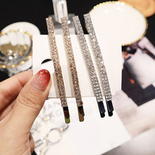 2pc Fashion Simple Korean Shiny Crystal Barrettes Long Hair Clips Double Rhinestones Forehead Side Hairpins Accessories S35