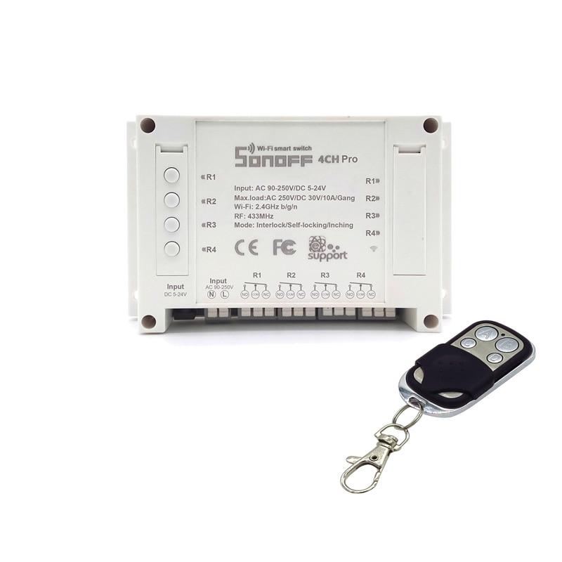 ITEAD Sonoff 4CH Pro - 4 Gang Inching/Self-Locking/Interlock WiFi RF Smart Switch for Smart Home