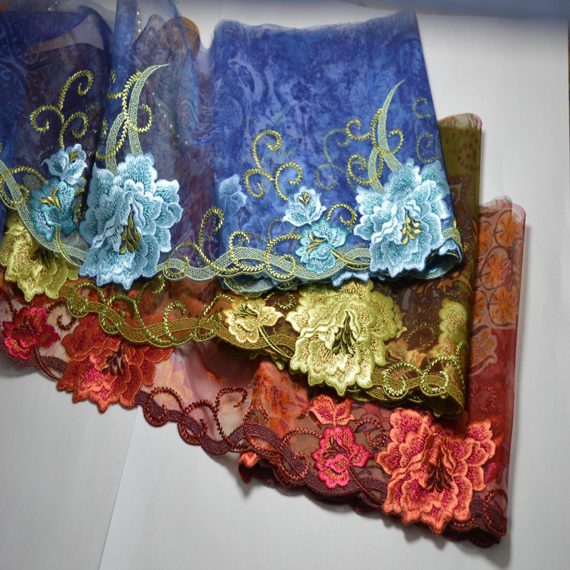 advanced fabric 19CM (2yds/lot) red blue and brown shiny silk Embroide Hight quality lace fabrics embroidered lace trim0508007