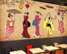beibehang Fashion silk cloth wallpaper Sexy Japanese vintage character shop sushi background wall papel de parede 3d wallpaper free shipping vintage japanese sushi ladies mural hot pot shop hand pulled noodle screen wallpaper mural