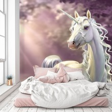 [Self-Adhesive] 3D White Unicorn Animal 206 Wall Paper mural Print Decal Murals