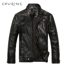 CHUQING 2019 New Fashion Mens Leather Motorcycle Jacket Men Plus Velvet
