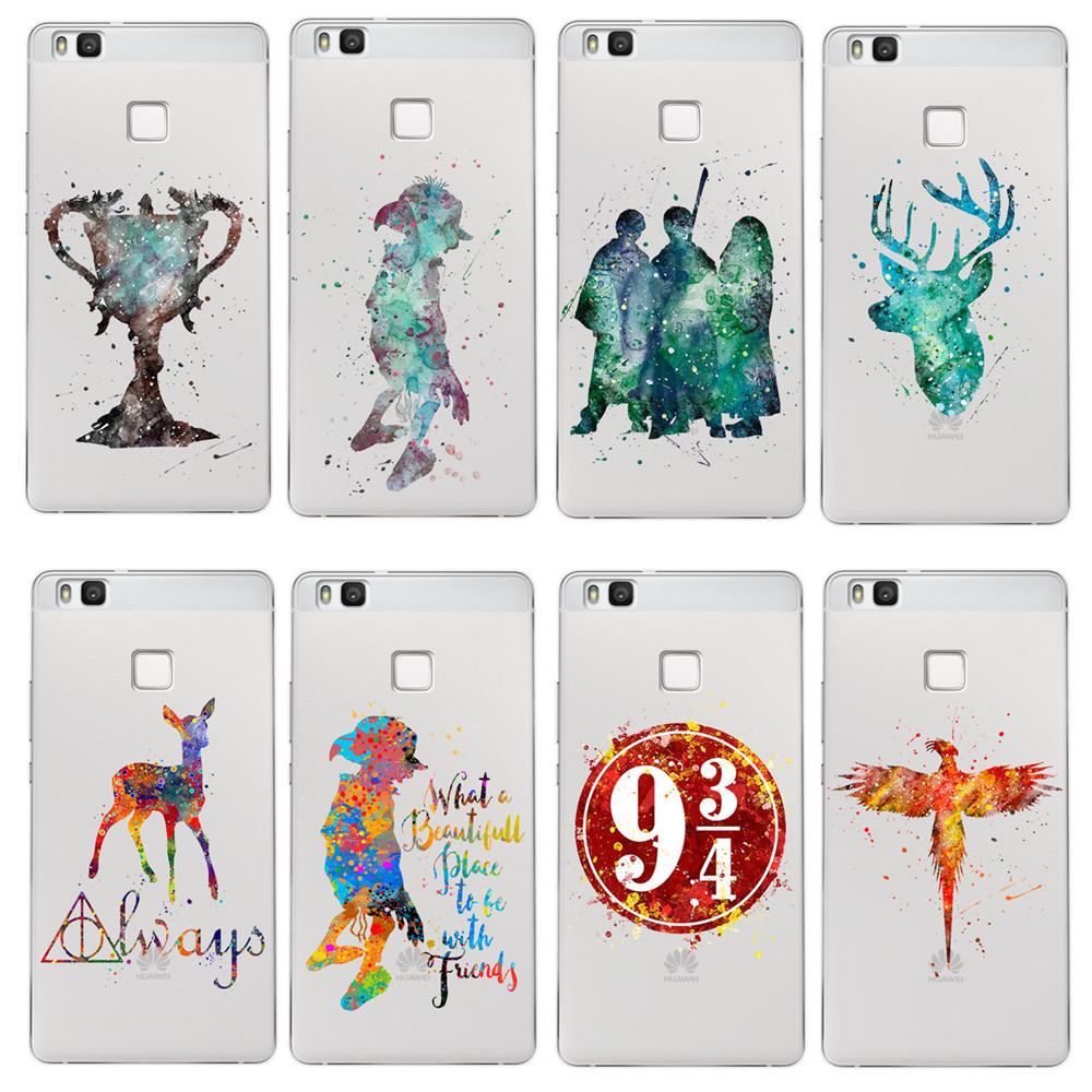 harry potter case ultra thin soft silicon transparent tpu cover coque for huawei p8 p9 p10 p20