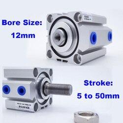 Actionneur pneumatique à double effet SDA 12mm, cylindre d'air compact, alésoir femelle/mâle, 12mm, course 5/10/15/20/25/30/35/40/45/50mm