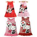 Bonito Minnie Olá Kitty Vestido Sem Mangas Baby Girl Verão Vestido crianças Vestido de roupas Para Meninas de Natal de Ano Novo Traje