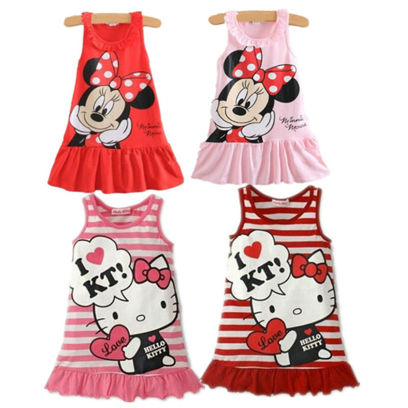 cute minnie hello kitty dress sleeveless baby girl summer dress children clothing dress for. Black Bedroom Furniture Sets. Home Design Ideas
