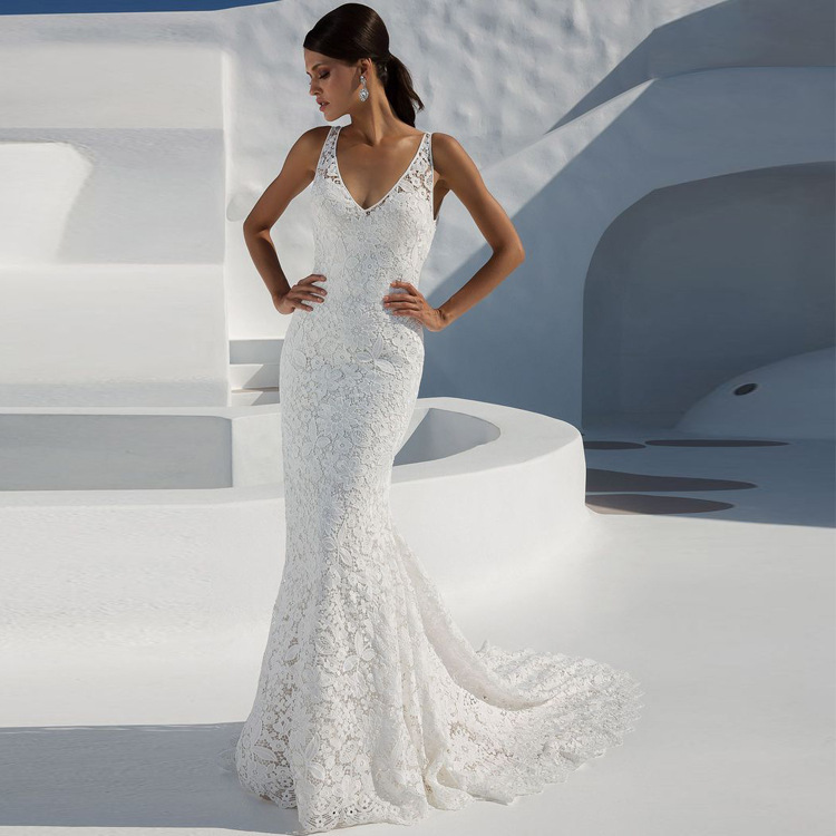 BacklakeGirls Lace Wedding Dresses Deep V Neckline Sleeveless Sexy Bridal Dress Backless Floor Length Mermaid