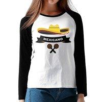 New Fashion Baseball Raglan T-Shirts Mexican Hat Women Long Sleeve Shirt Print 100% Cotton Clothing Free Shipping