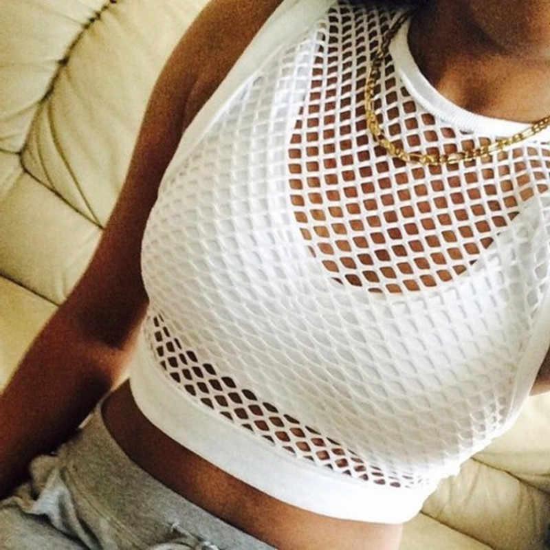 Baru Seksi Tank Melihat Melalui Jala Mesh Putih Desain Rendah Memotong Kembali Bikini Cover Up Top 2019 Terbaru Hot Dijual musim Panas Camisetas Wanita