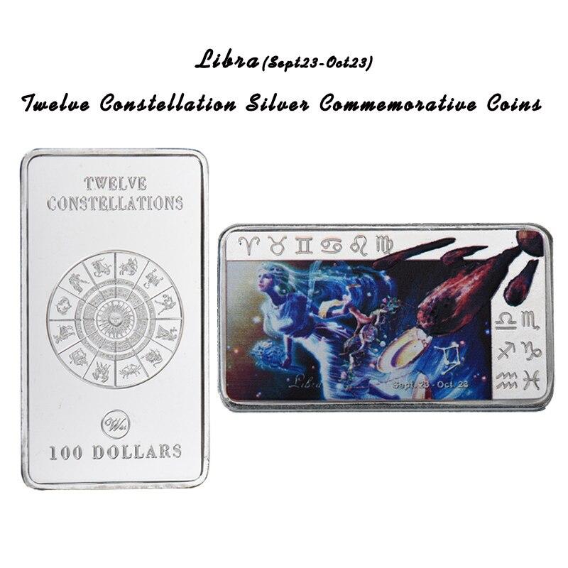 US $5 0  Aliexpress com : Buy WR Libra 12 Constellation Silver Bar Home  Decorative Souvenir Bars Zodiac Sign Metal Bars Art Crafts for Festival