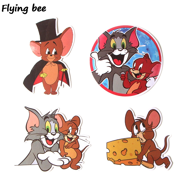 Image 3 - Flyingbee 17 Pcs Tom and Jerry Cartoon Cute PVC Stickers Scrapbooking for Car Luggage Laptop Decal Bedroom Diy Decoration X0280-in Stickers from Consumer Electronics
