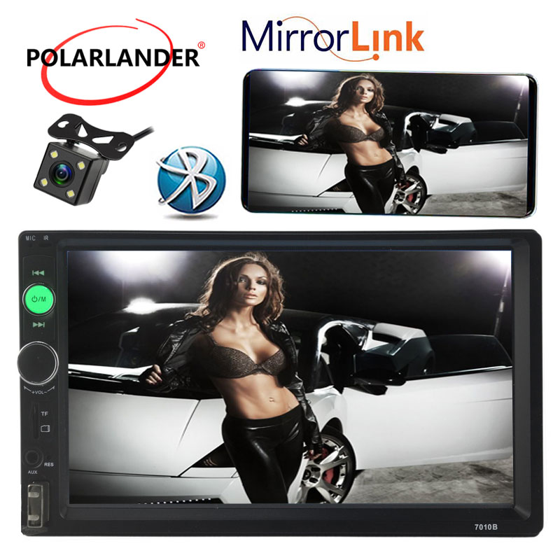 2 Din 7 pouces autoradio lecteur MP5 écran tactile Auto Audio stéréo FM/USB/AUX in/Bluetooth Support vue arrière caméra miroir lien
