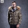 SHENOWA Nuevo abrigo mens puffer parka de piel de pato abajo chaqueta de invierno Espesar ropa de los hombres de Oro de Negocios