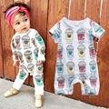 2016 Novo Bonito Do Bebê Romper 0-24 M Bebê Recém-nascido Toddle Crianças Sorvete de Manga longa Jumpsuit One Pieces Bebes Meninos Meninas roupas