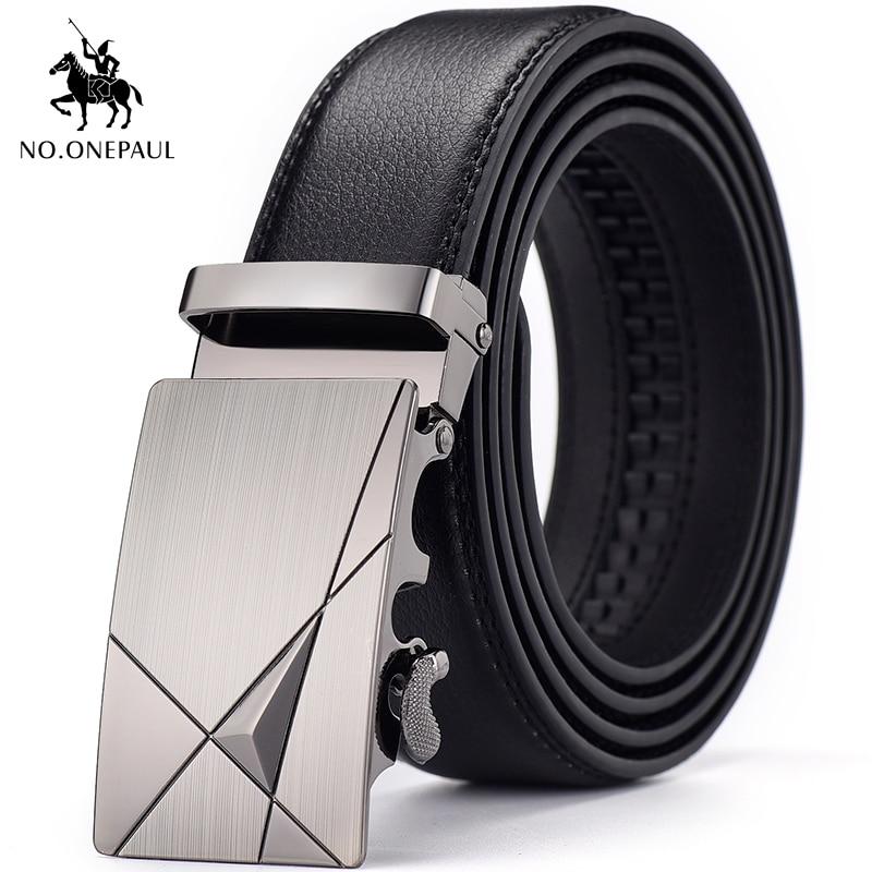 NO.ONEPAUL Metal Automatic Buckle Leather Belt Famous Brand Belt Men's High Quality Men's Business Designed For Men Black Belt