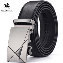 NO.ONEPAUL Metal automatic buckle leather belt famous brand mens high quality business designed for men black
