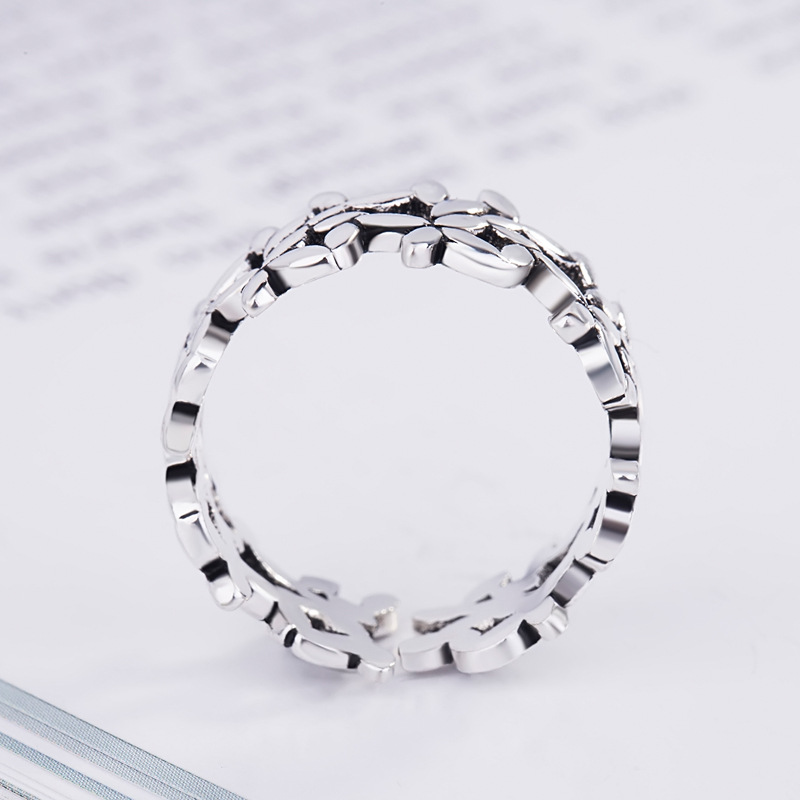 Bohemian Vintage Silver Color Leaf Rings for Women Fashion Statement Jewelry Adjustable Finger Ring Girls Gifts 2