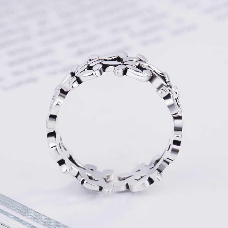 โบฮีเมียน Vintage 925 Sterling Silver Leaf แหวนแฟชั่นเครื่องประดับเครื่องประดับปรับนิ้วมือแหวนของขวัญหญิง
