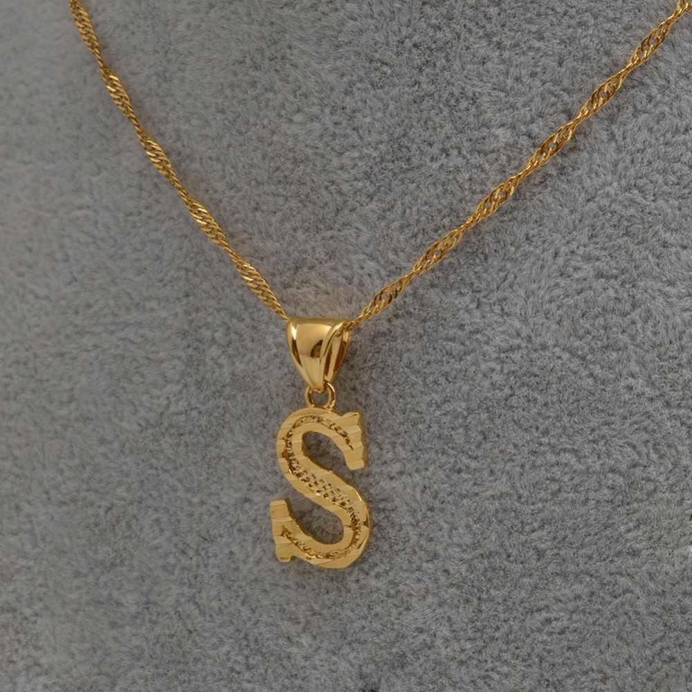 Anniyo A-Z pequenas letras colares feminino/menina cor do ouro inicial pingente fina corrente inglês carta jóias alfabeto presente #058002