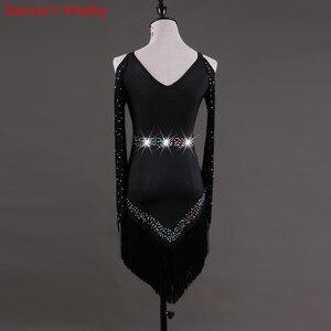 Image 3 - Custom made Latin dans elbise kadın kızlar Rumba Cha cha etek balo salonu yarışması kostüm giyim elmas dans elbise