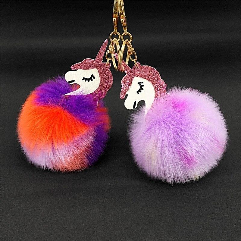 a8aff59b9a High Quality Toy Cute Metal Rainbow Unicorn KeyChain Plush Toy Pendant  Women Fluffy Fox Fur Pom Pom Keyring Bag Hang Plush Toy