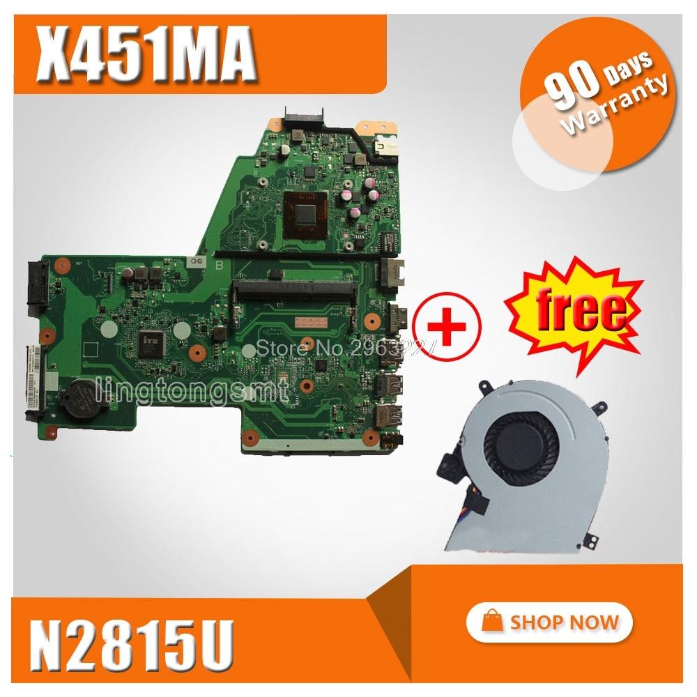 Free fan + X451MA Motherboard REV2.1 N2815U For ASUS X451M X451MA F451M Laptop motherboard X451MA Mainboard X451MA Motherboard цена