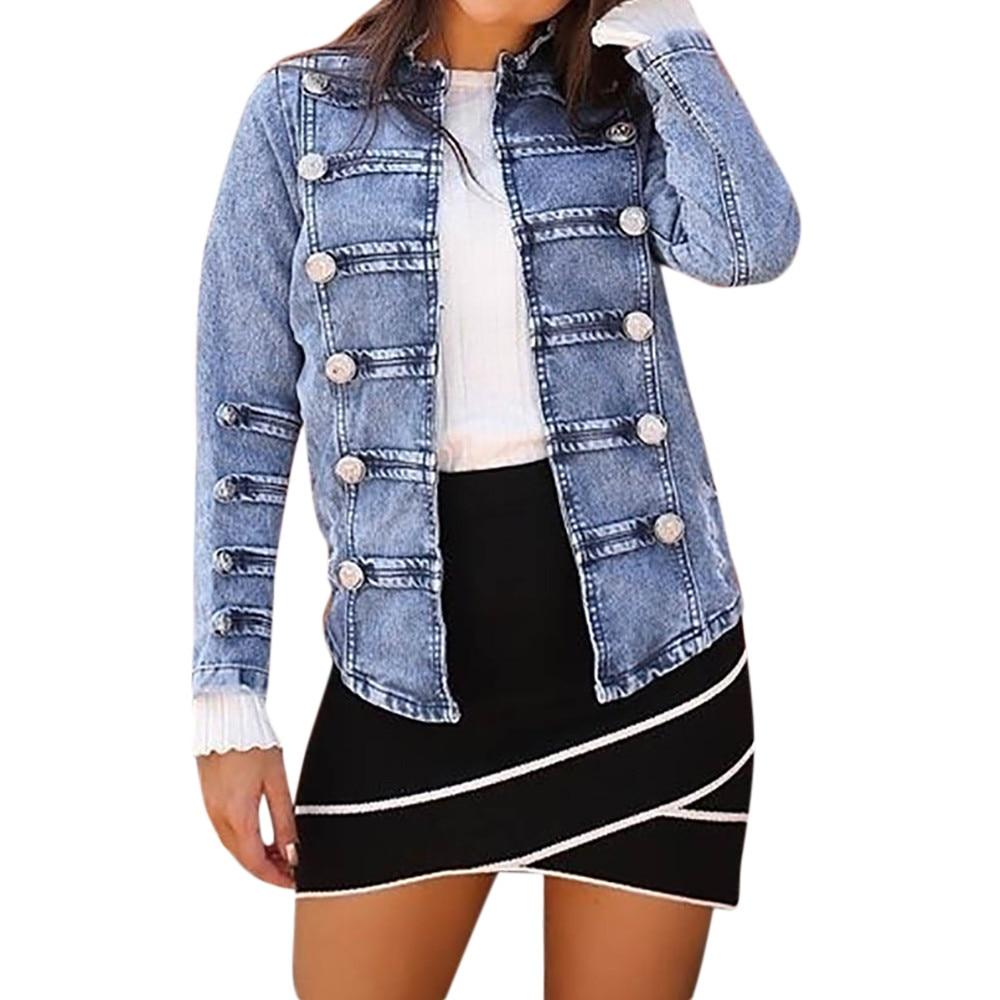 2018 Womens Double Row Button   Basic     Jacket   Ladies Jean Outwear Coats Women Cowboy Long Sleeve Denim   Jackets   Coat casaco feminino