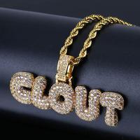 Hip Hop Iced Out Micro Pave Cubic Zircon CLOUT Bubble Letter Pendant Necklace Gold Silver Color Charm Necklaces for Men Women