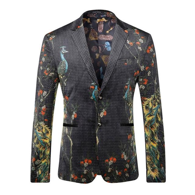Plyesxale Blazer Men 2018 Peacock Printed Men Blazers Casual Suit Jacket Slim Fit Homens Blazer Mens Stage Wear Brand Coat Q205