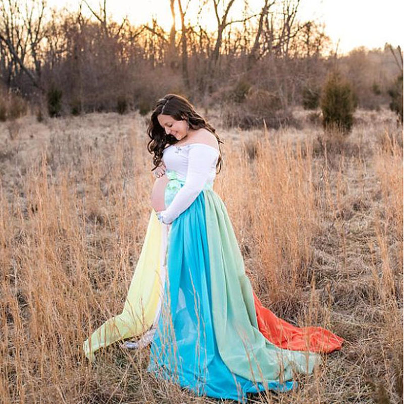 Rainbow Colorful Chiffon Long Maternity Dresses 2018 With Ribbon Sash Pregnant Dress Custom Made Faldas Mujer Maxi Skirt